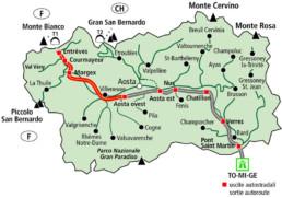 Cartina Valle d'Aosta - www.heli-ski.it